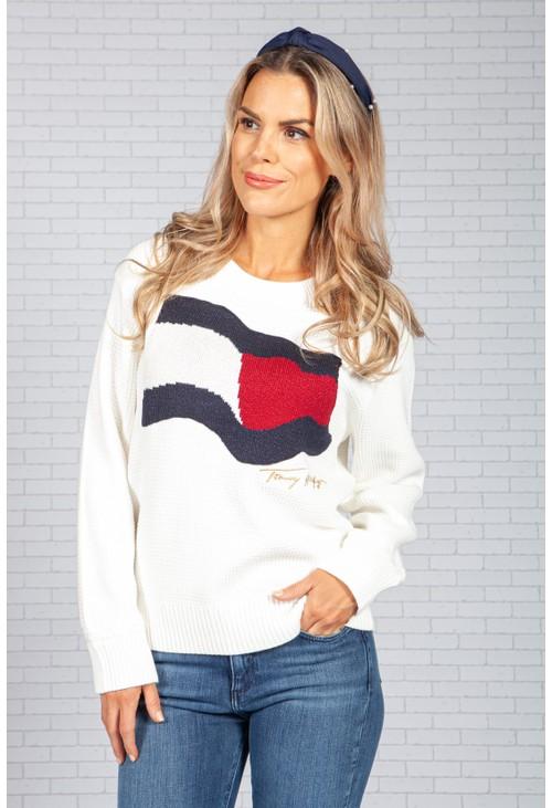 Tommy Hilfiger Cream Logo Knit Jumper