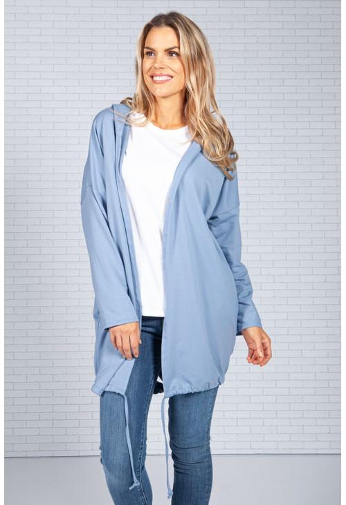 Pamela Scott Long Hoodie-Style Cardigan in Blue