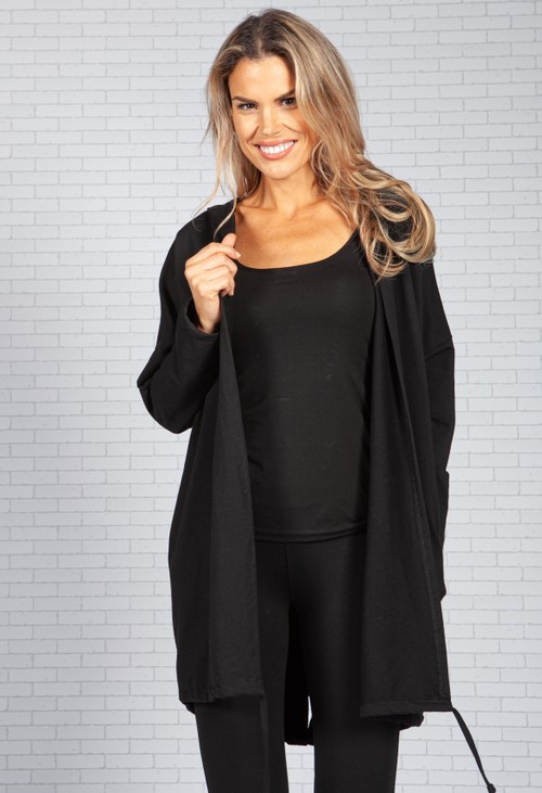 Pamela Scott Long Hoodie-Style Cardigan in Black