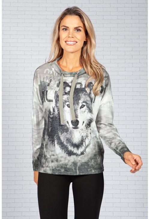Monari Wolf Sweater with Rhinestones