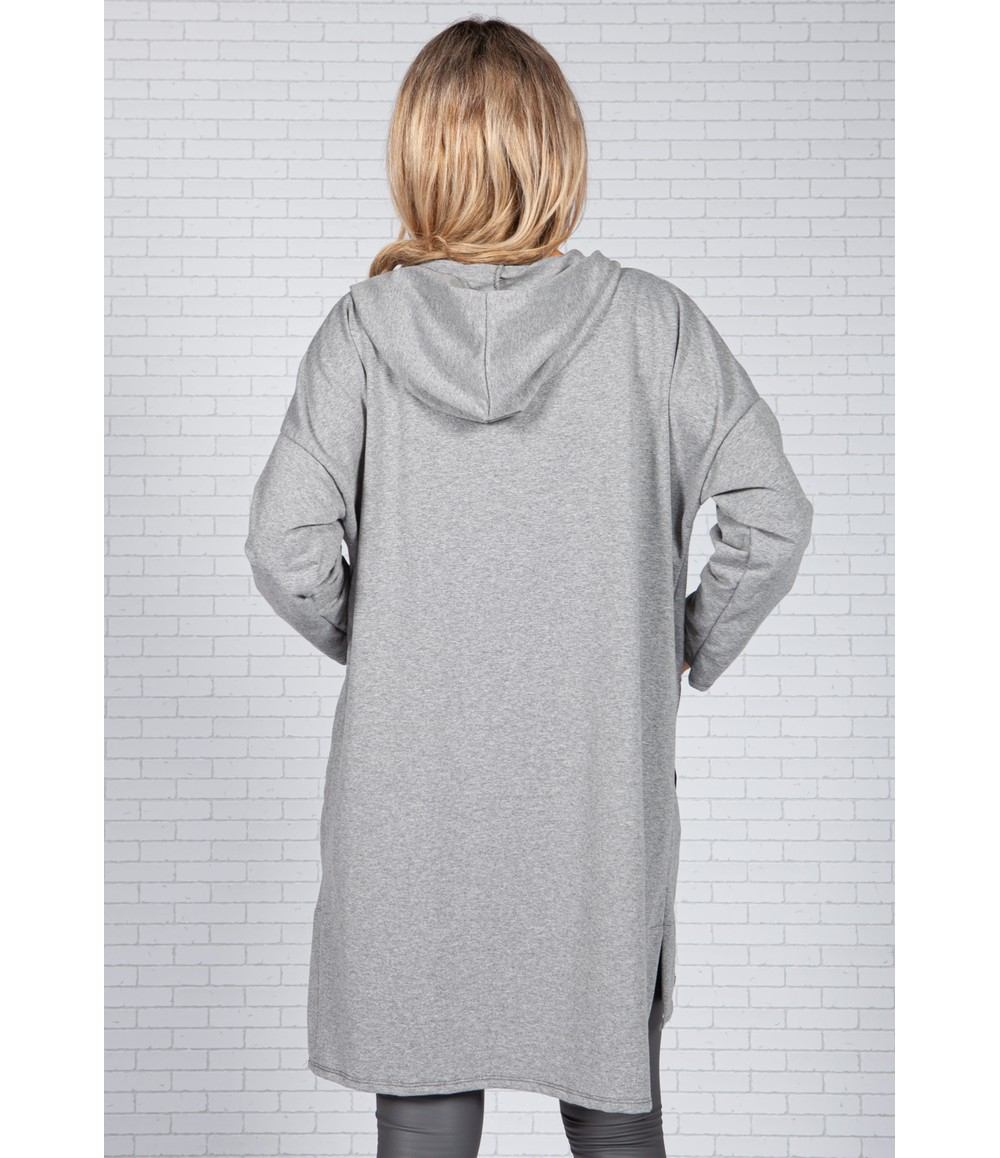 Sophie B Logo Strapped Pocket Zip Up Cardi in Light Grey