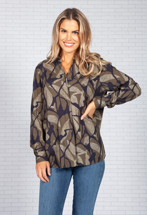 ERFO Abstract Leaf Printed Blouse