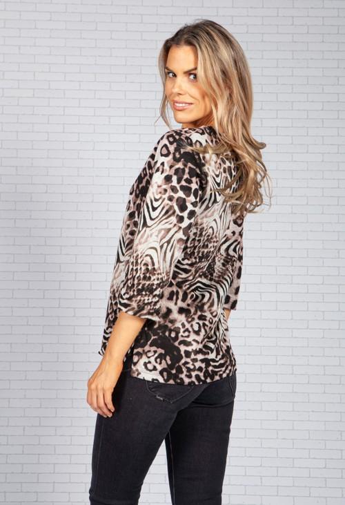 Bicalla Silvered Brown Leopard Print Top