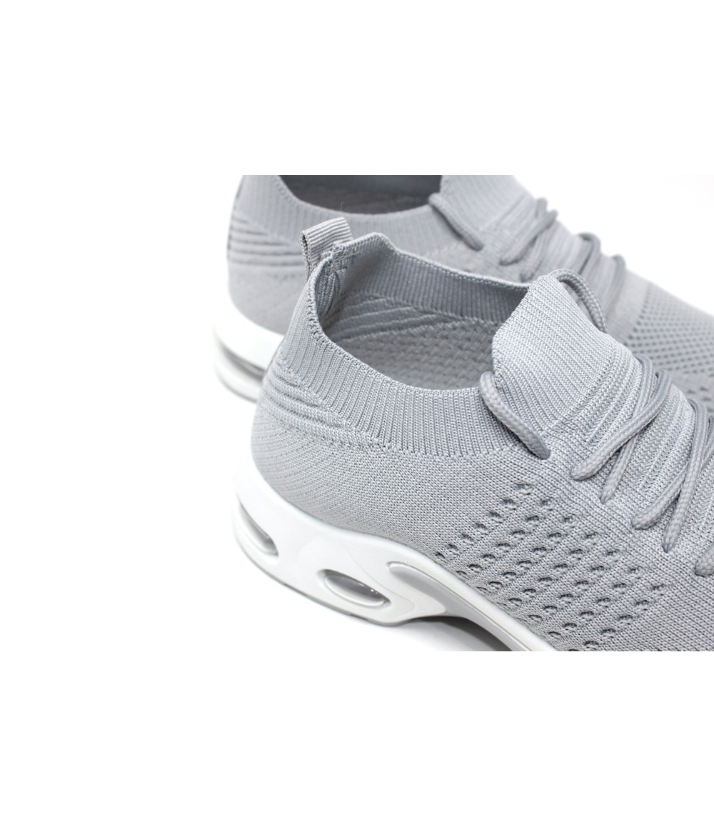 Grey Pull-on Elasticated Trainer