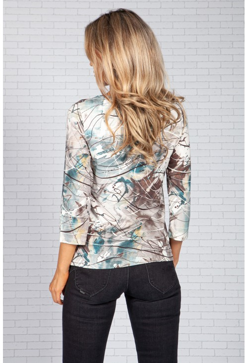 Bicalla Chocolate and Teal Abstract Print Top