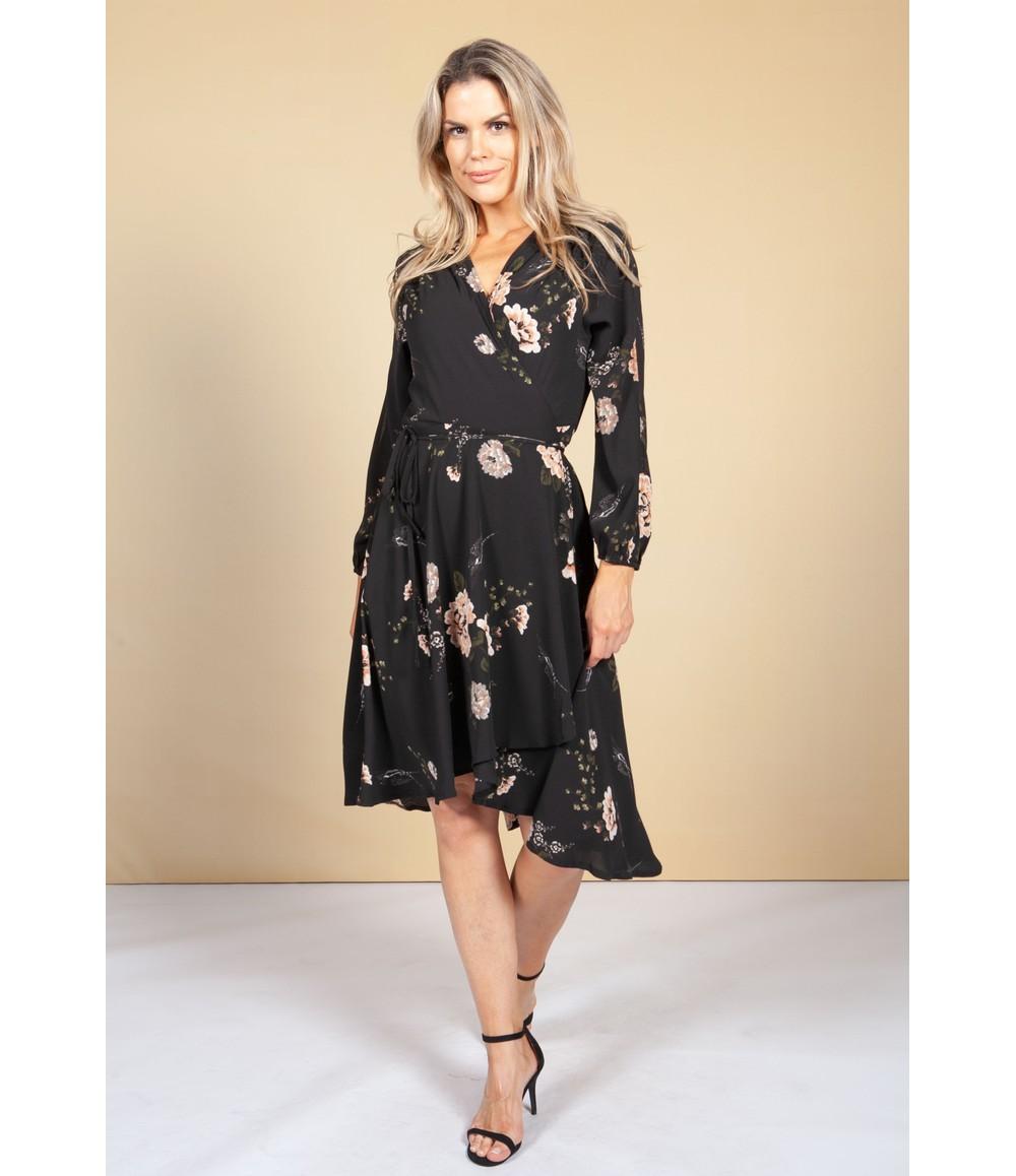 Pamela Scott Blossom High-Low Wrap Dress
