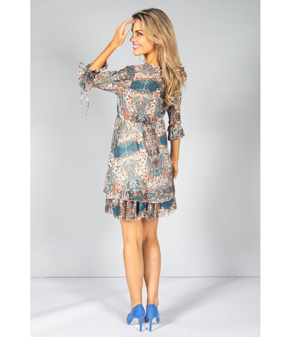Pamela Scott Retro Paisley Print Dress in Blue