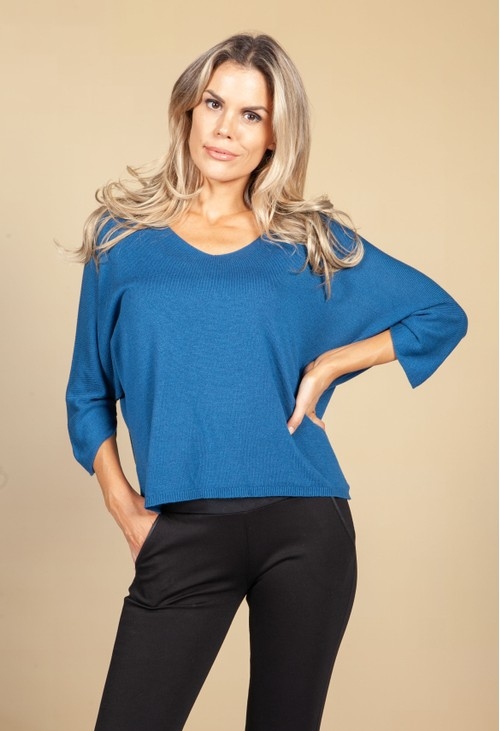 Emporium Oversized Pullover Knit in Teal