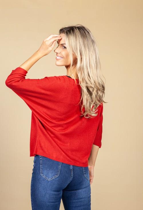 Emporium Oversized Pullover Knit in Dark Red