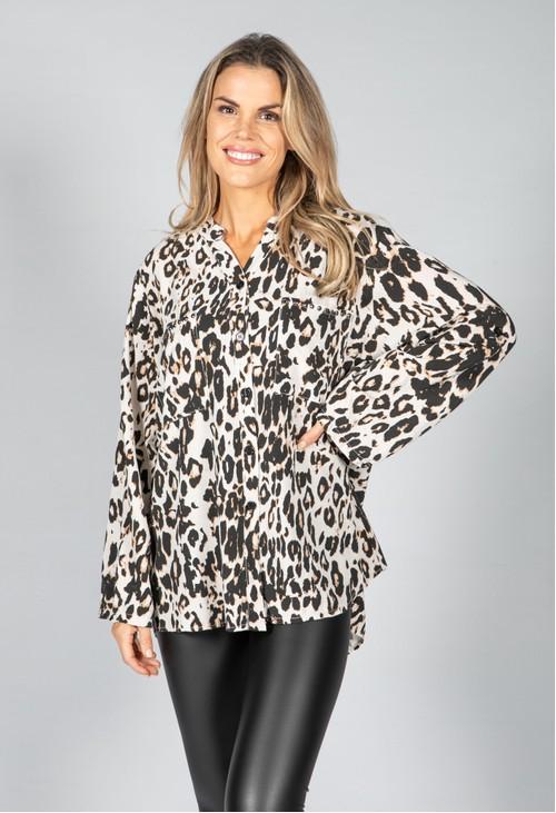 Pamela Scott Studded Pocket Leopard Print Shirt in Beige