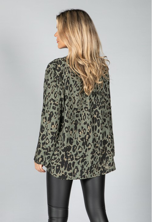 Pamela Scott Studded Pocket Leopard Print Shirt in Khaki