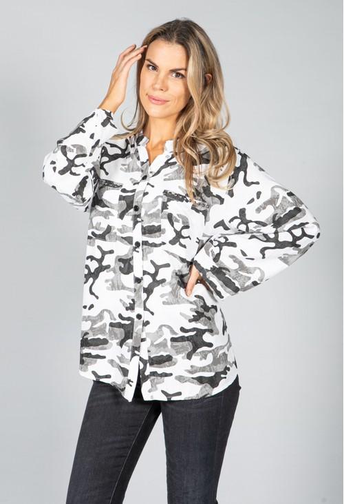 Pamela Scott Camo Shirt in Grey