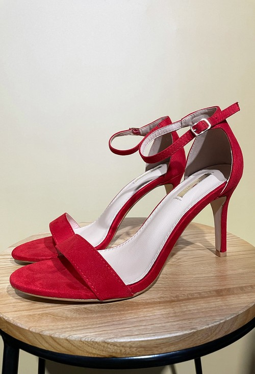 Shoe Lounge Red BARELY THERE SUEDETTE SANDALS