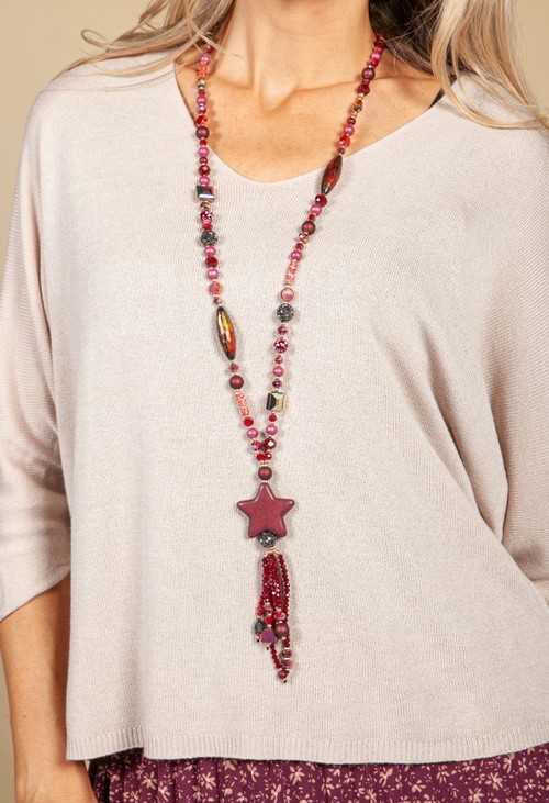 PS Accessories Star Pendant Necklace in Wine