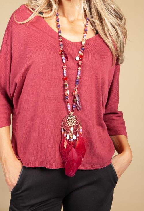 PS Accessories Dream Catcher Pendant Necklace in Burgundy