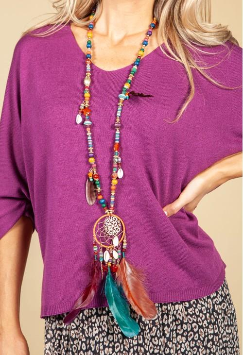 PS Accessories Dream Catcher Pendant Necklace in Multi