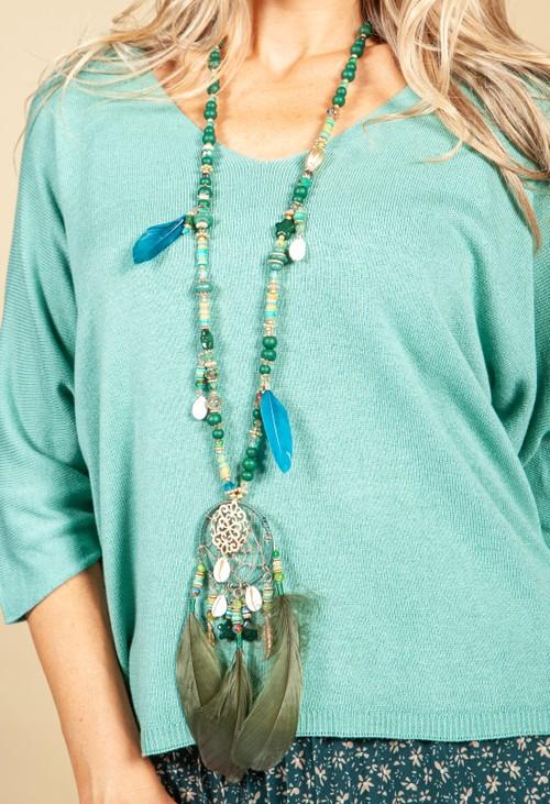 Pamela Scott Dream Catcher Pendant Necklace in Green