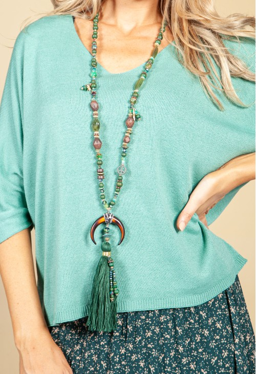 PS Accessories Midnight Pendant Necklace in Mystic Green