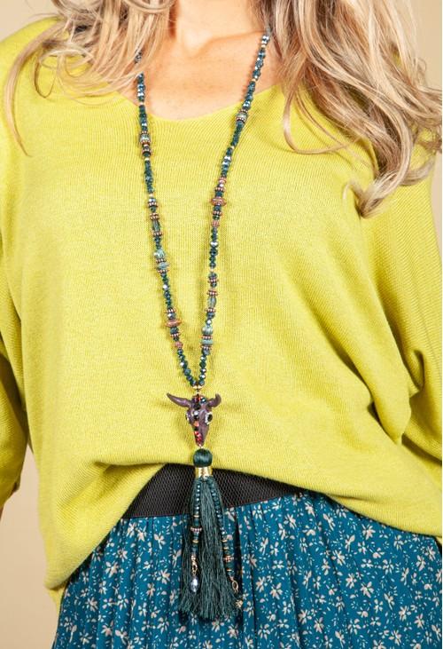 PS Accessories Emerald Tassel Pendant Necklace