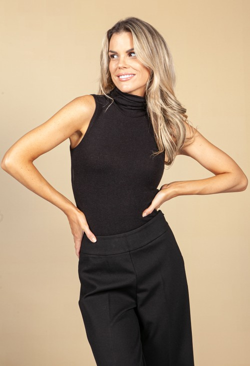 Pamela Scott Black Super Soft Knit Bodysuit