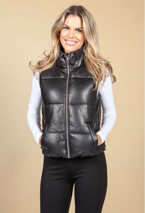 Pamela Scott Black Faux Leather Gilet