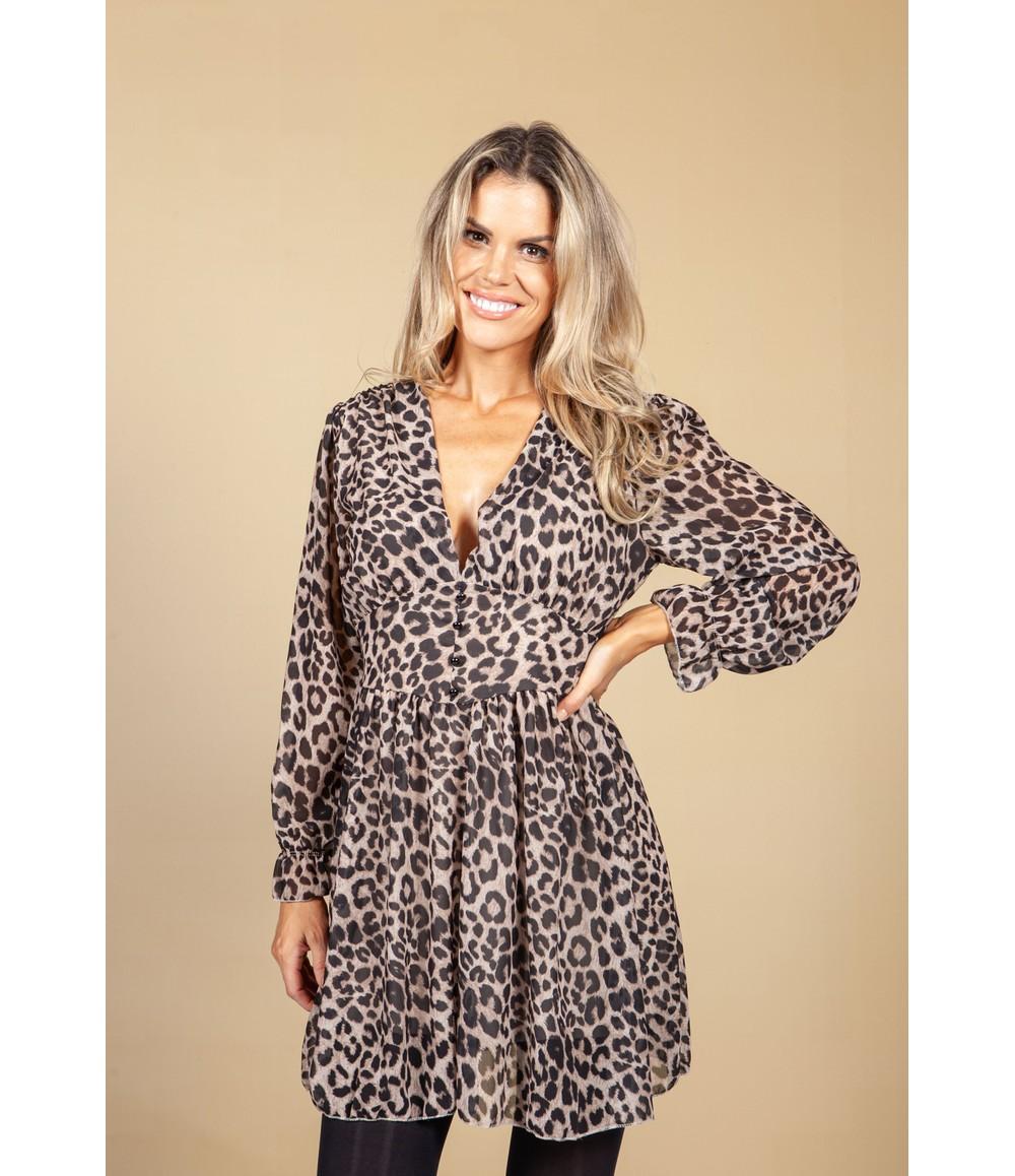 Pamela Scott V-Neck Mini Dress in Leopard Print