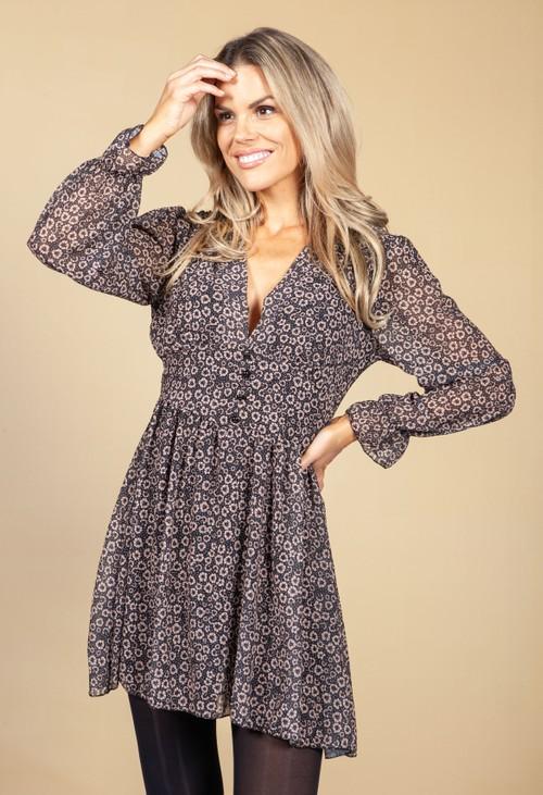 Pamela Scott V-Neck Mini Dress in Beige Blossom