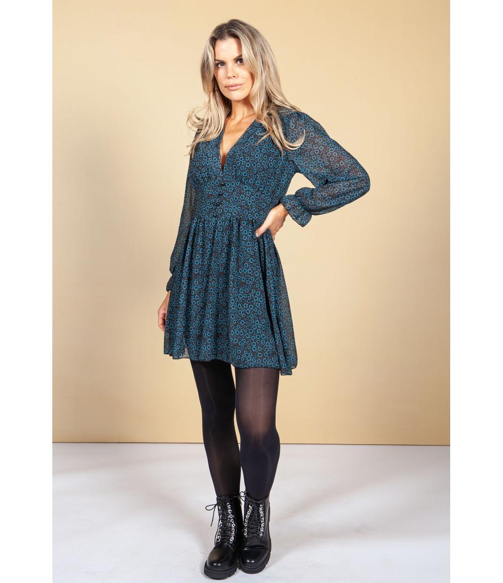 Pamela Scott V-Neck Mini Dress in Teal Blossom