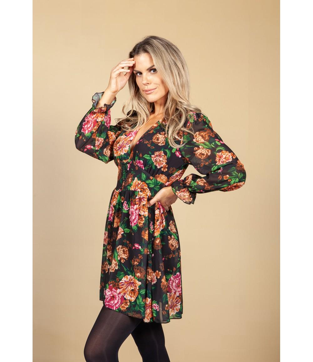 Pamela Scott V-Neck Mini Dress in Autumn Blossom