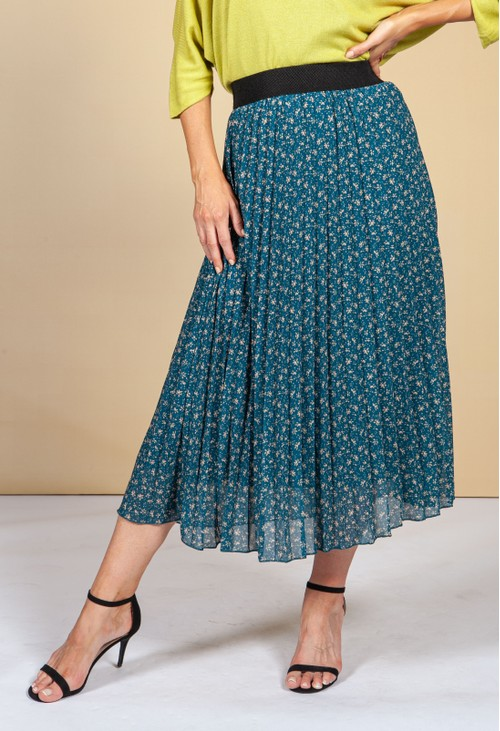 Emporium Dark Teal Floral Print Skirt