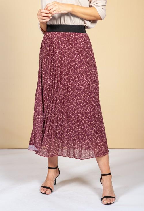 Emporium Wine Floral Print Skirt
