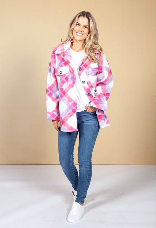 Pamela Scott Pink Pop Soft Check Shacket
