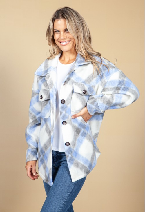 Pamela Scott Light Blue Soft Check Shacket