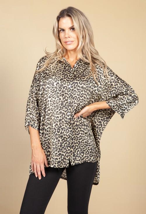 Pamela Scott Silky Feel Leopard Print Shirt