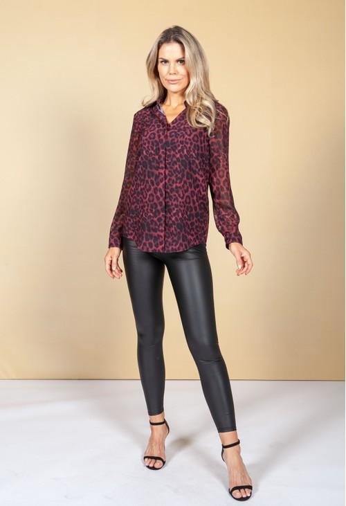 Pamela Scott Deep Red Leopard Print Blouse