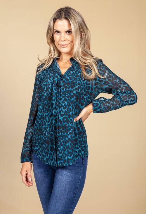Pamela Scott Teal Leopard Print Blouse