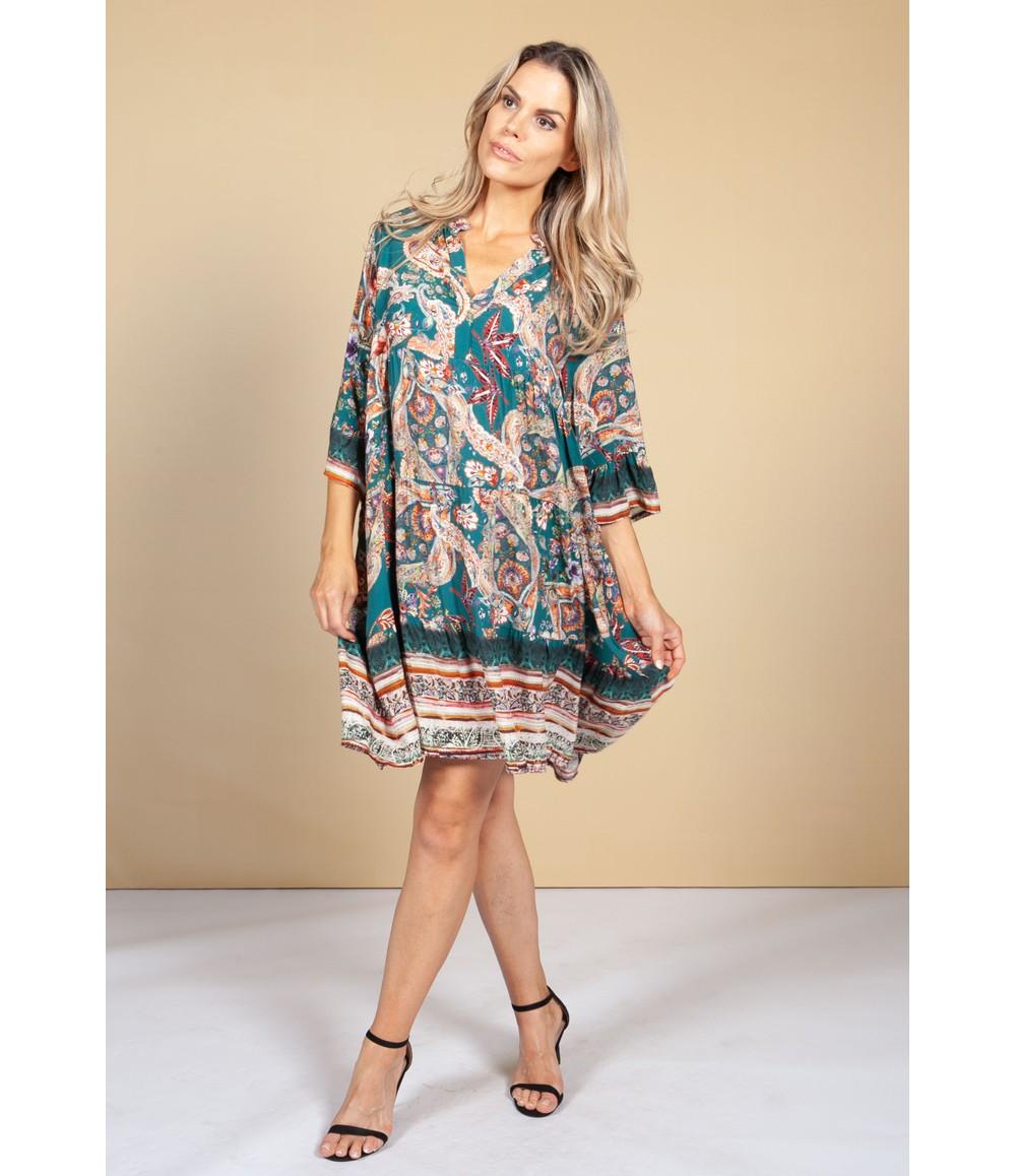 Pamela Scott Tunic Style Dress in Emerald Paisley