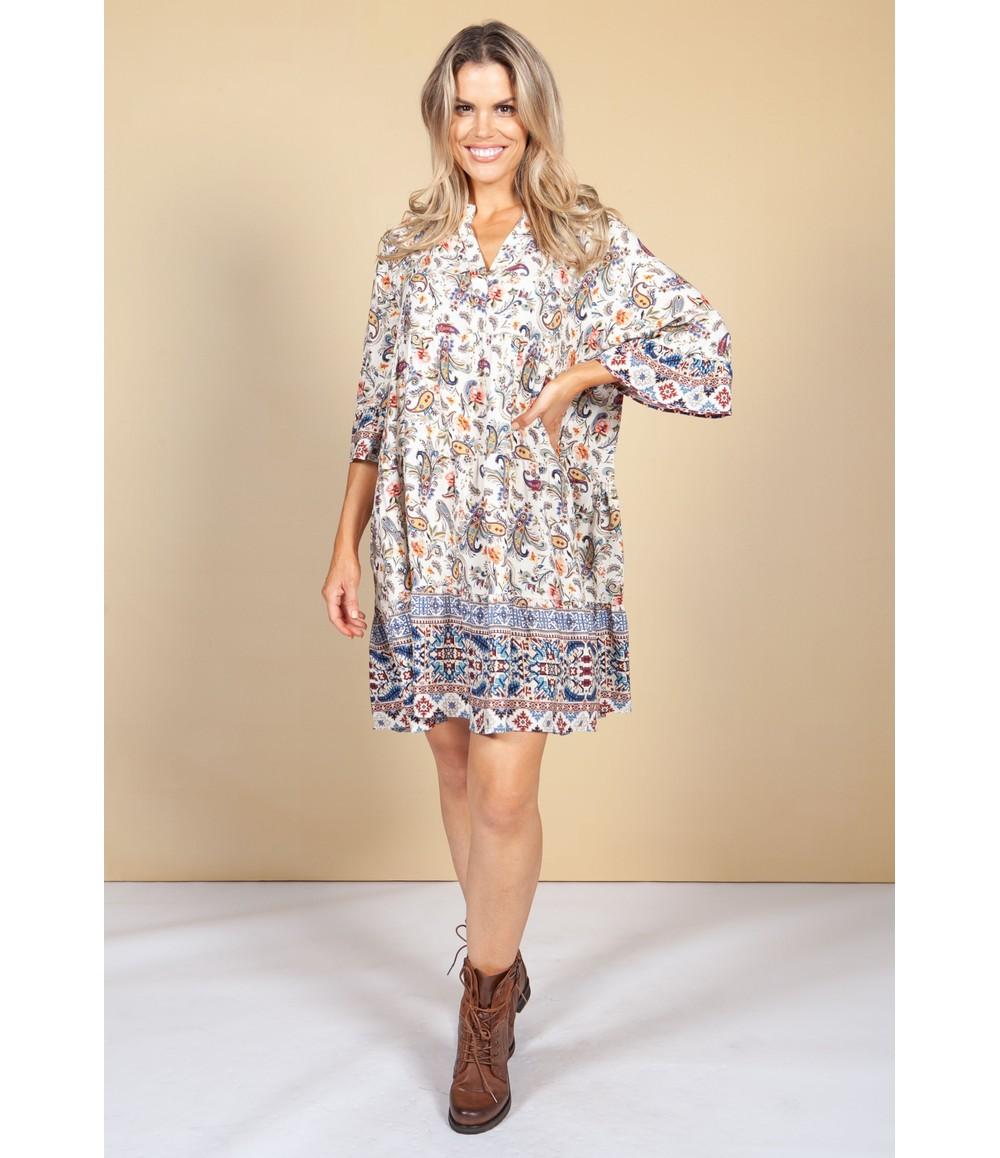 Pamela Scott Tunic Style Dress in Paisley Cream