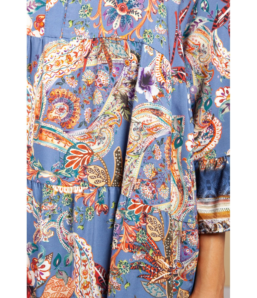 Pamela Scott Tunic Style Dress in Blue and Orange Paisley