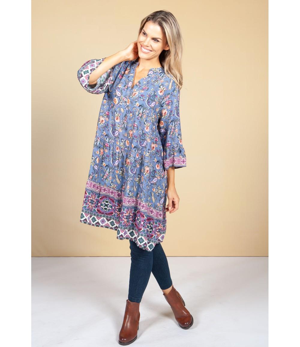 Pamela Scott Tunic Style Dress in Blue Paisley