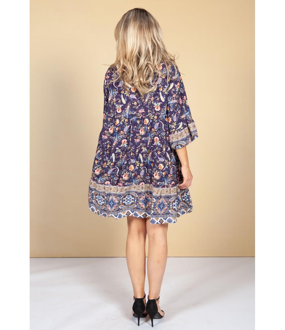 Pamela Scott Tunic Style Dress in Violet Paisley