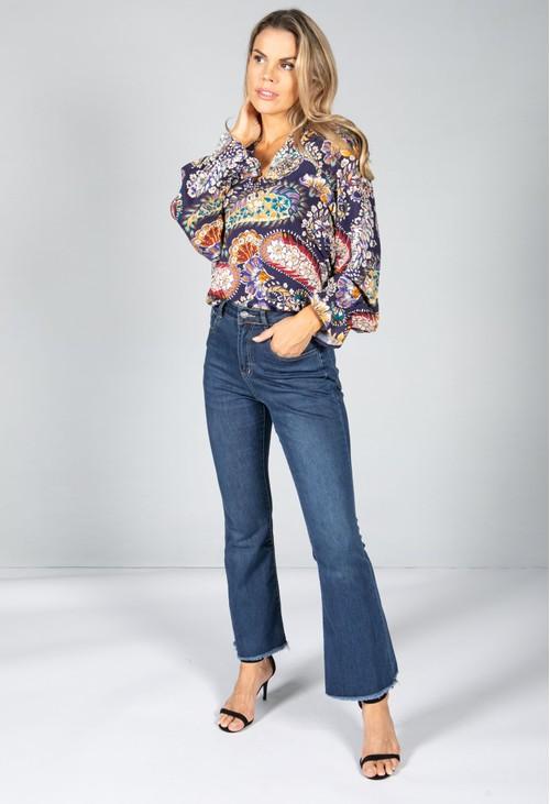 Pamela Scott Floral Pop Blouse in Violet