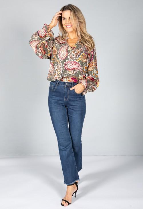 Pamela Scott Floral Pop Blouse in Khaki