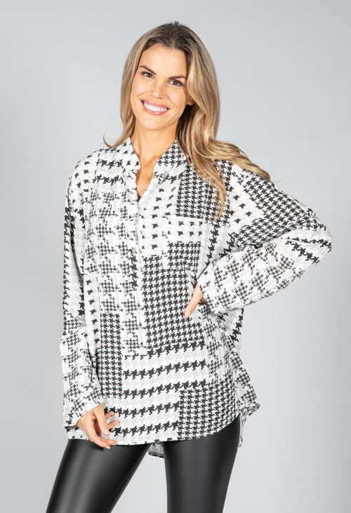 Pamela Scott Hounds Tooth Blouse in Grey Mix