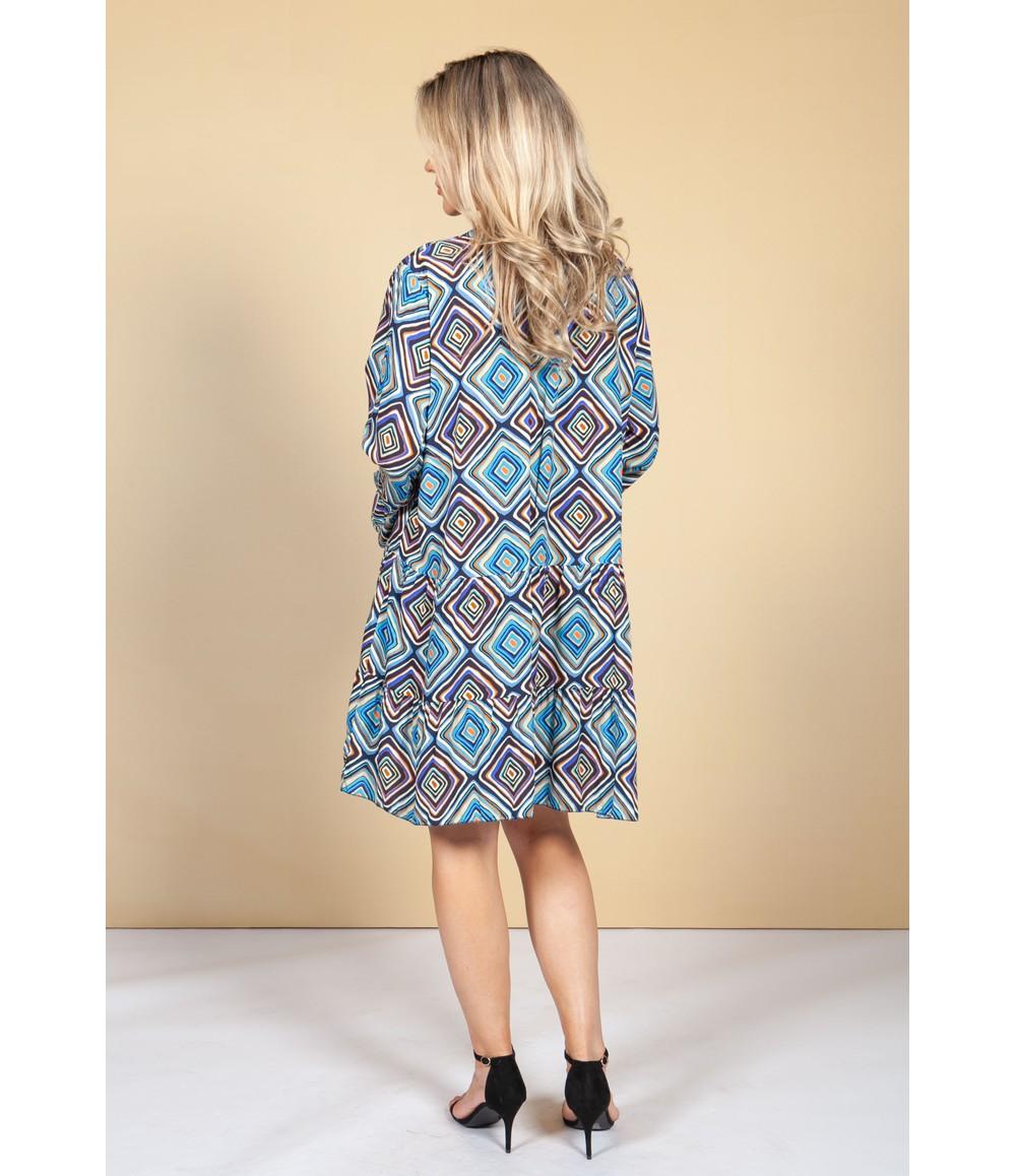 Pamela Scott Groovy Blue Print Dress