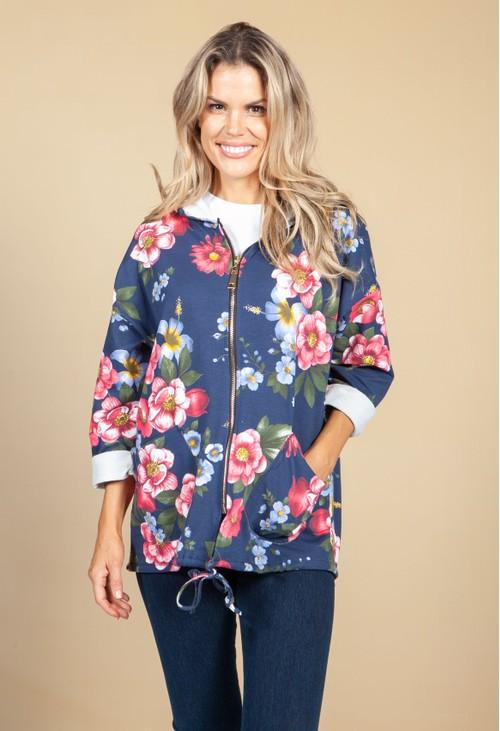 Pamela Scott Red & Navy Floral Hoodie