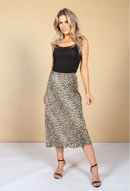 Pamela Scott Silk Feel Leopard Print Skirt