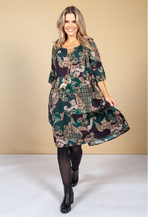 Pamela Scott Paisley Print Tie Neck Dress in Bottle Green