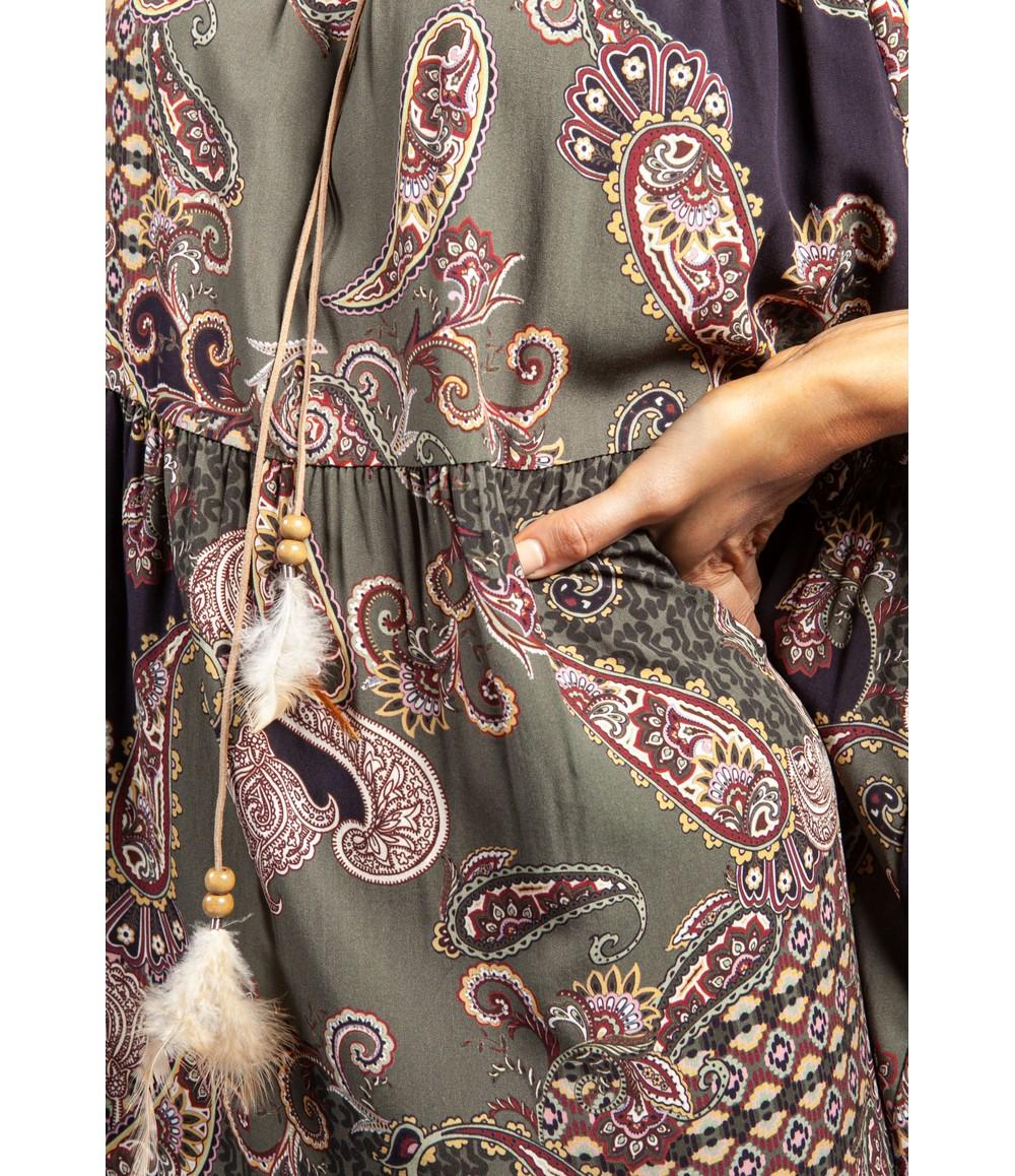 Pamela Scott Paisley Print Tie Neck Dress in Khaki