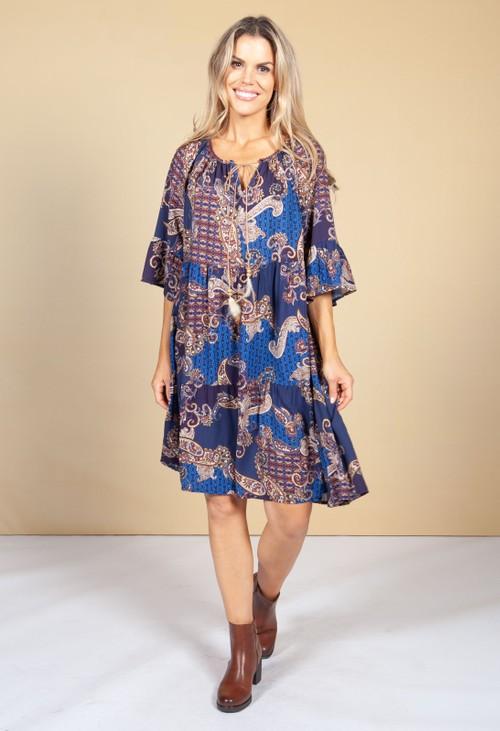 Pamela Scott Paisley Print Tie Neck Dress in Violet